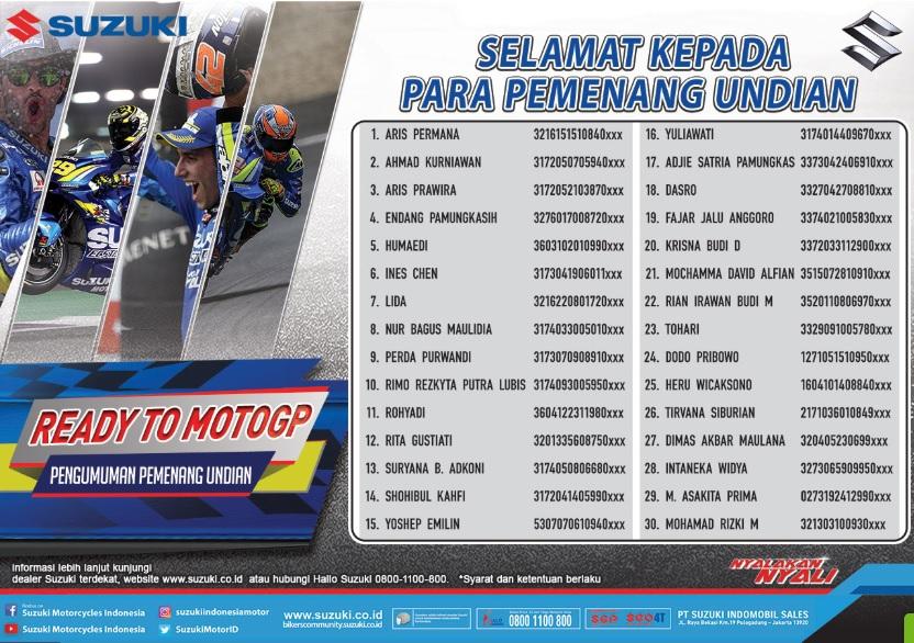 nama Pemenang Nonton MotoGP 2018 Bersama Suzuki
